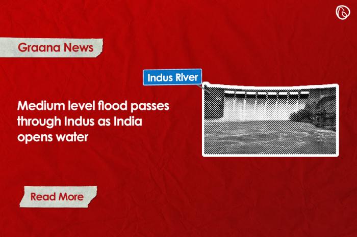 Medium level flood passes through Indus as India opens water
