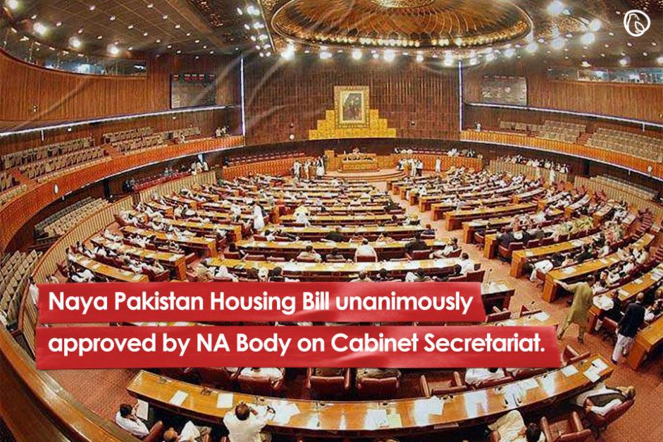 Naya Pakistan Housing Bill unanimously approved by NA Body on Cabinet Secretariat