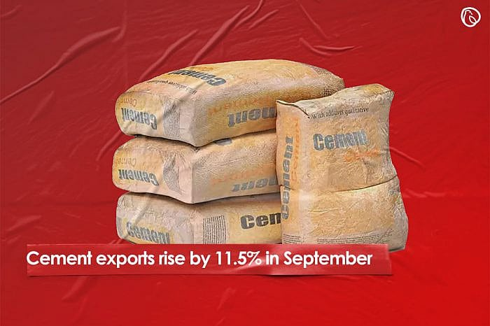 Cement exports rise by 11.5% in September