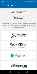 FBR Tax Asaan App Landing page