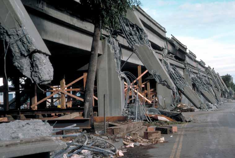 Columns damaged by Earthquake