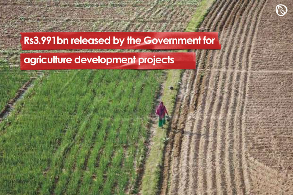 Rs3.991bn released by the Government for agriculture development projects