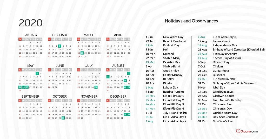 calendar 2020 - holidays in pakistan