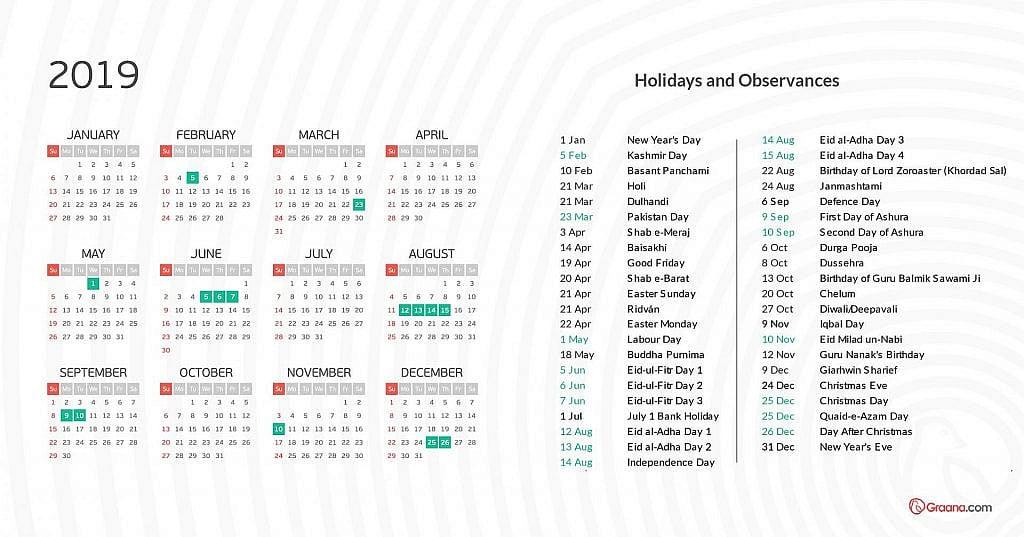 calendar 2019 - holidays in pakistan