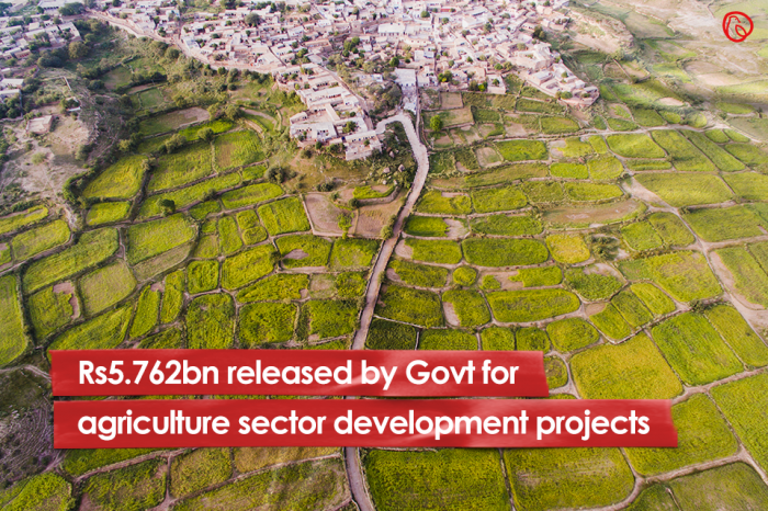 Rs5.762bn released by Govt for agriculture sector development projects