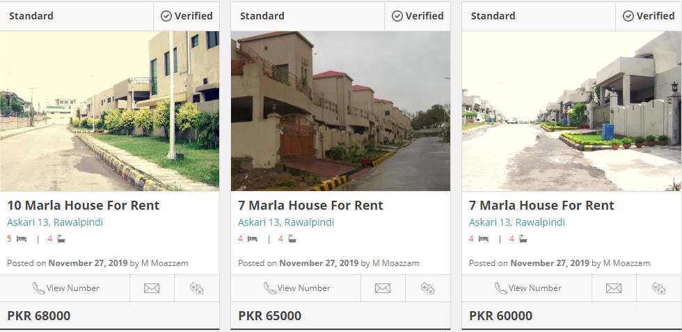 houses for rent in askari 13