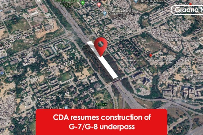 CDA resumes construction of G-7/G-8 underpass