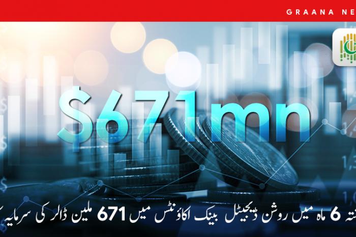 گزشتہ 6 ماہ میں روشن ڈیجیٹل بینک اکاؤنٹس میں 671 ملین ڈالر کی سرمایہ کاری