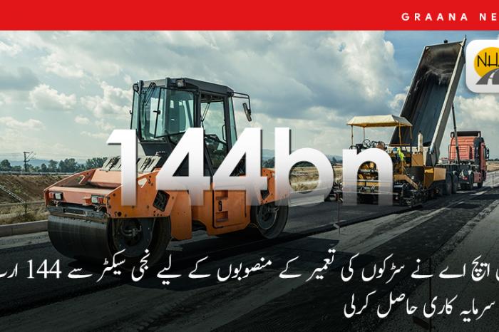 این ایچ اے نے سڑکوں کی تعمیر کے منصوبوں کے لیے نجی سیکٹر سے 144 ارب کی سرمایہ کاری حاصل کرلی