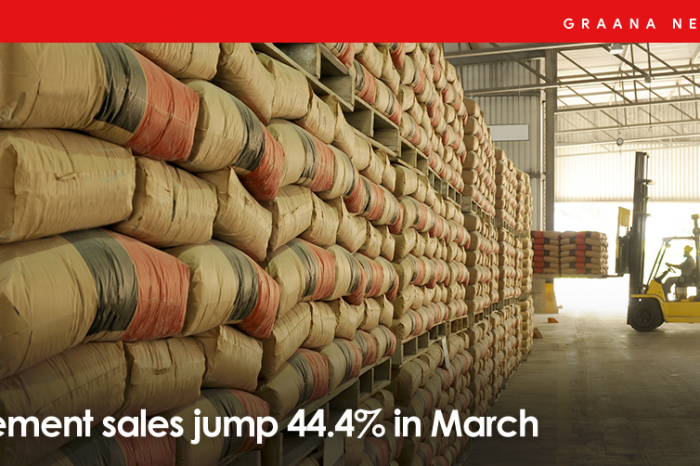 Cement sales jump 44.4% in March