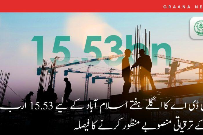 سی ڈی اے کا اگلے ہفتے اسلام آباد کے لیے 15.53 ارب کے ترقیاتی منصوبے منظور کرنے کا فیصلہ