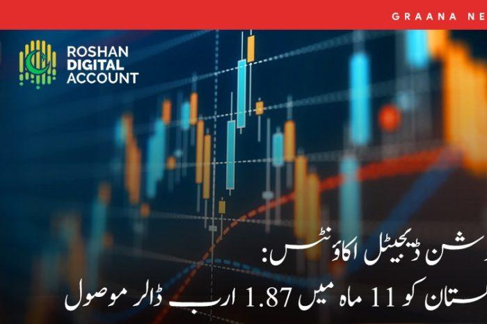 روشن ڈیجیٹل اکاؤنٹس: پاکستان کو 11 ماہ میں 1.87 ارب ڈالر موصول